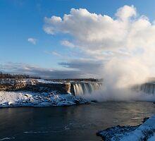 Niagara Falls - Horseshoe Winter Panorama by Georgia Mizuleva