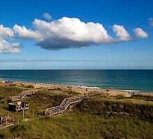 Emerald Isle Beach, Between the Dunes and Clouds by Gene Walls