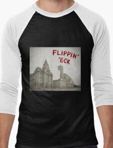 Flippin' 'eck. Dinosaur attacking Liverpool Men's Baseball ¾ T-Shirt