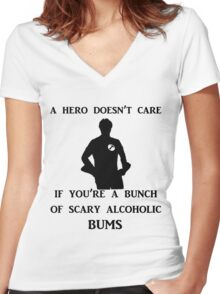 a hero doesn't care Women's Fitted V-Neck T-Shirt