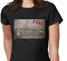 Dinosaur attacking Belfast. Womens Fitted T-Shirt