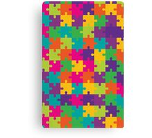 Colorful Jigsaw Puzzle Pattern Canvas Print