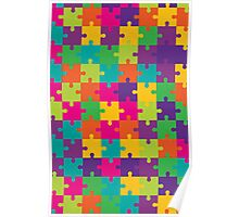 Colorful Jigsaw Puzzle Pattern Poster