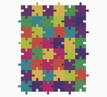 Colorful Jigsaw Puzzle Pattern Kids Tee
