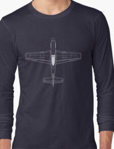 North American P-51D Mustang Blueprint Long Sleeve T-Shirt