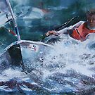 Wind In The Sails - Painting of Racing Boat by Ballet Dance-Artist