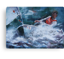 Wind In The Sails - Painting of Racing Boat Canvas Print