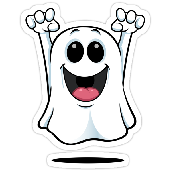 Quot Cartoon Ghost Happy Quot Stickers By Designwolf Redbubble