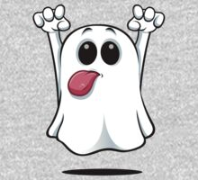 Cartoon Ghost - Sticking His Tongue Out. One Piece - Long Sleeve