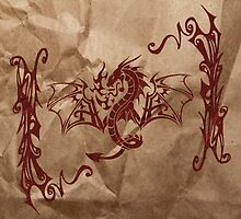 Chinese Mythology Dragon, Wrinkled Paper - Red by sitnica