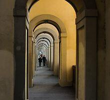 In a Distance - Vasari Corridor in Florence, Italy  by Georgia Mizuleva