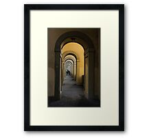 In a Distance - Vasari Corridor in Florence, Italy  Framed Print