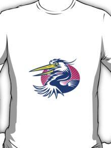 Great Blue Heron Head Retro T-Shirt