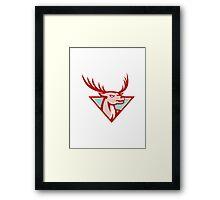 Deer Stag Buck Head Woodcut  Framed Print