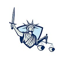 Statue of Liberty Holding Scales Justice Sword by patrimonio