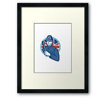 British Bobby Policeman Truncheon Flag Framed Print