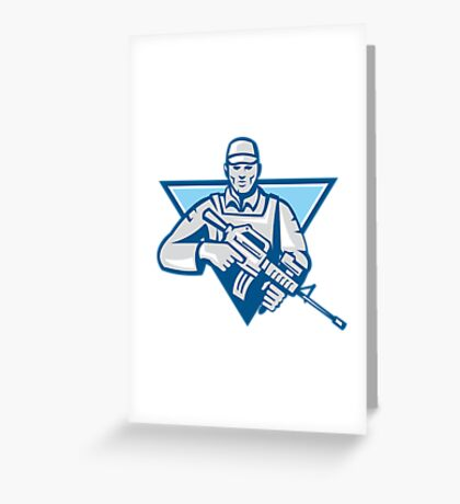 American Soldier Assault Rifle Retro Greeting Card