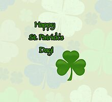 Happy Saint Patrick Day Green Three Leaf Clovers by sitnica