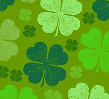 Saint Patrick Day Lucky Green Four Leaf Clovers by sitnica