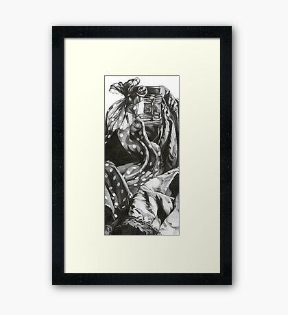Still life with dotted ribbon Framed Print