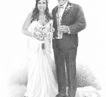 Newlyweds and champagne drawing by Mike Theuer