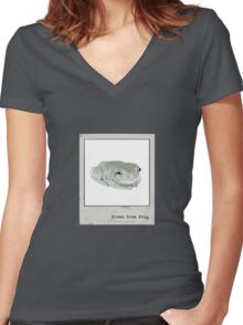 Green Tree Frog Polaroid Women's Fitted V-Neck T-Shirt