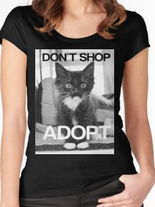 DONT SHOP. ADOPT. - BLACK & WHITE Women's Fitted Scoop T-Shirt