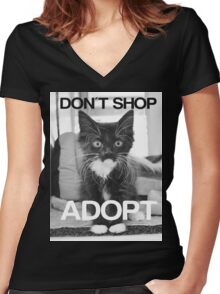 DONT SHOP. ADOPT. - BLACK & WHITE Women's Fitted V-Neck T-Shirt