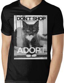 DONT SHOP. ADOPT. - BLACK & WHITE Mens V-Neck T-Shirt