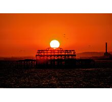 Sunset Over the Remains Of The West Pier Photographic Print