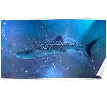 Whale-shark in the fractal big blue. Poster