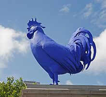 A Blue cockerel lands in Trafalgar Square by Keith Larby
