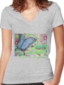 From Caterpillar to Butterfly Women's Fitted V-Neck T-Shirt