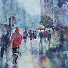 Rain In London - Painting in Umbrellas Art Gallery by Ballet Dance-Artist