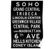 "New York ""SOHO"" Classic Black & White subway sign art Poster"