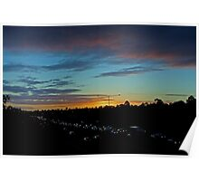 Freeway Sunset Poster