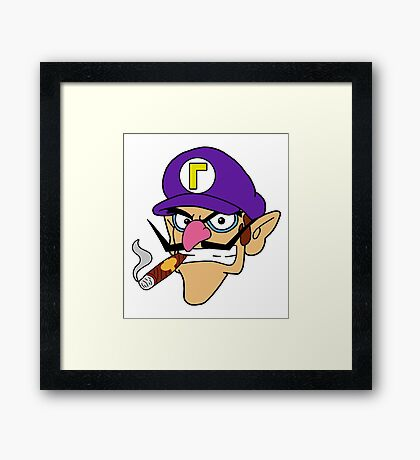 Waluigi Smoking a Cigar Framed Print