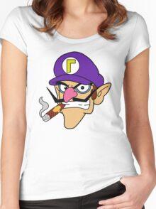 Waluigi Smoking a Cigar Women's Fitted Scoop T-Shirt