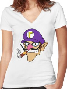 Waluigi Smoking a Cigar Women's Fitted V-Neck T-Shirt