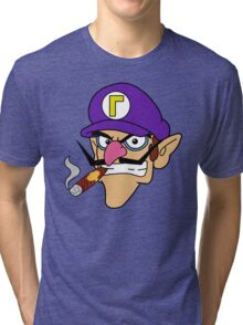 Waluigi Smoking a Cigar Tri-blend T-Shirt