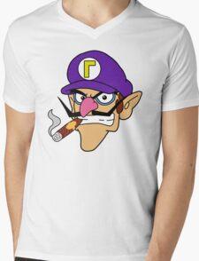 Waluigi Smoking a Cigar Mens V-Neck T-Shirt