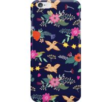 Cute vintage pattern with birds and flowers iPhone Case/Skin