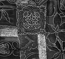 Chic Decorative Patchwork Flowers Black Gray  by sitnica