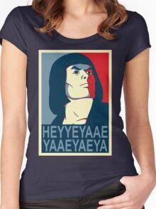 He-Man Heyyeyaaeyaaaeyaeyaa In Obama Hope Style Women's Fitted Scoop T-Shirt