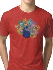 colorful modern peacock big feathers Tri-blend T-Shirt