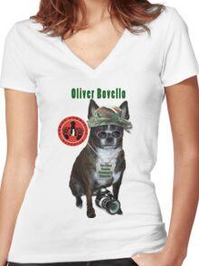 Oliver Bovello, Canine Community Reporter-Travel Women's Fitted V-Neck T-Shirt