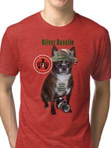 Oliver Bovello, Canine Community Reporter-Travel Tri-blend T-Shirt