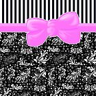 Floral Damask, Stripes and Ribbon - Black, White, Pink by sitnica