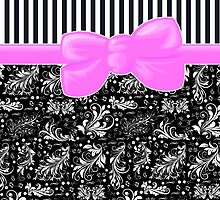 Ribbon, Damask, Swirls, Stripes - Black Pink White by sitnica