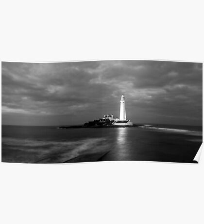 Evening Tide at St Mary Lighthouse Poster